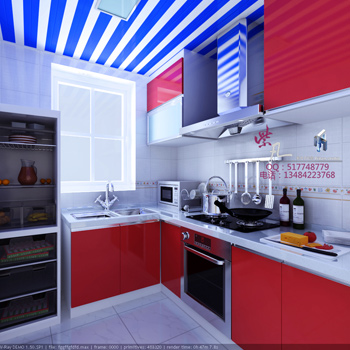 Mod le 3d de la cuisine rouge 3d model download free 3d for Modele cuisine simple